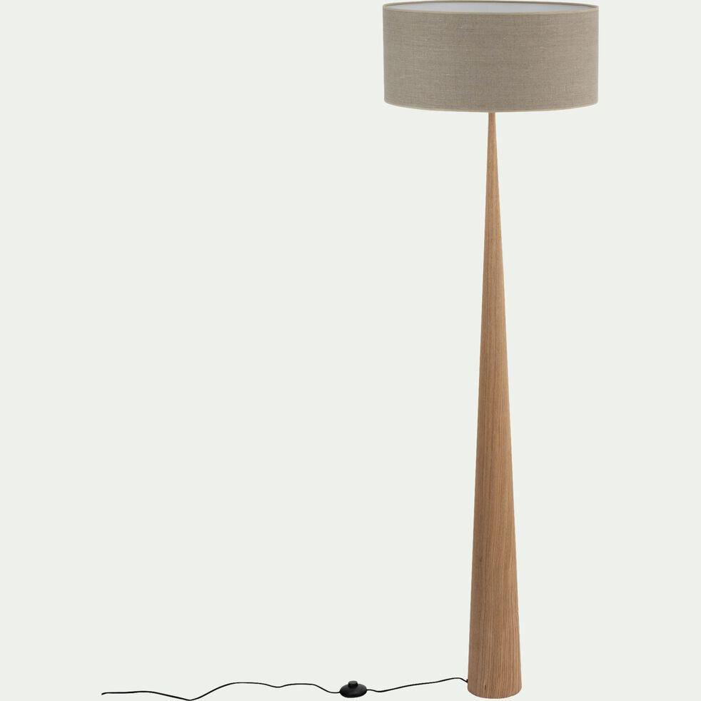 Lampadaire en bois clair - gris D50cm-KONE
