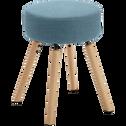 Tabouret en tissu bleu - H45cm-LUCIEN