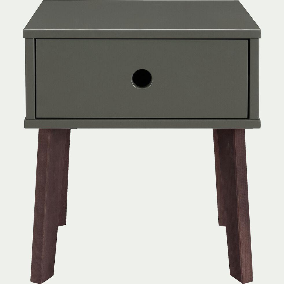 Table de chevet en bois plaqué - vert cèdre-SACHA