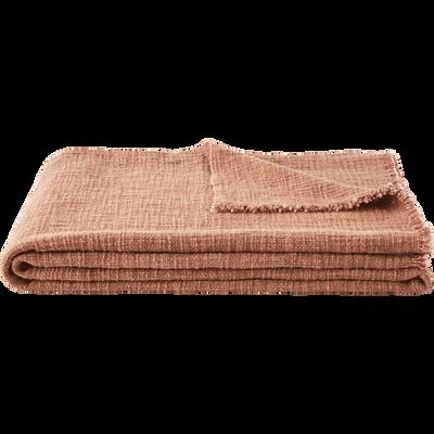 Plaid en coton rose 130x170cm-CALANQUES