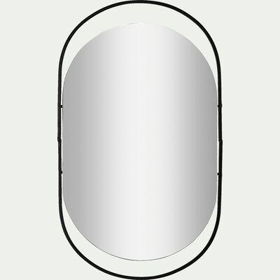 Miroir ovale en métal - noir H45cm-ROMY