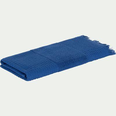 Serviette de bain en bouclette de coton - bleu 50x100cm-TOMAR