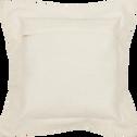 Coussin en coton carré écru brodé noir 50x50 cm-Medine