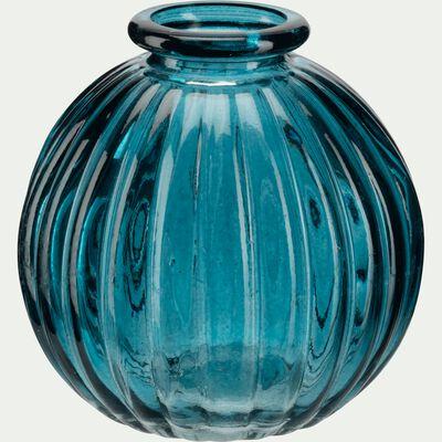 Vase rond strié en verre bleu niolon H8 cm-Doko