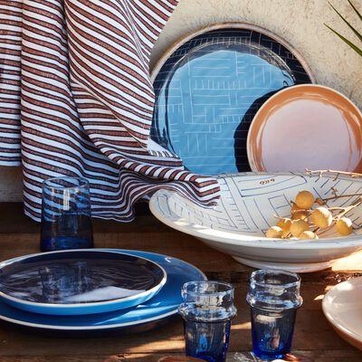 Plateau en manguier et résine bleu D30cm-SOUK