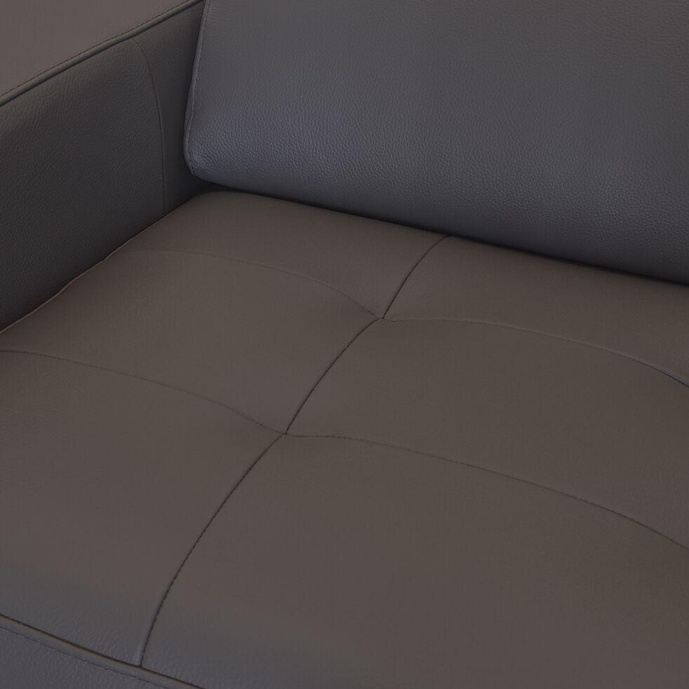 Canapé 2 places convertible en cuir avec accoudoir 15cm - taupe foncé-MAURO