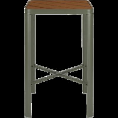 Table haute carrée en métal vert cèdre (2 places)-ALEP