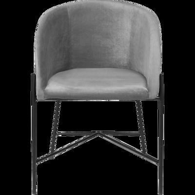 Chaise en velours avec accoudoirs gris borie-ELMIRE