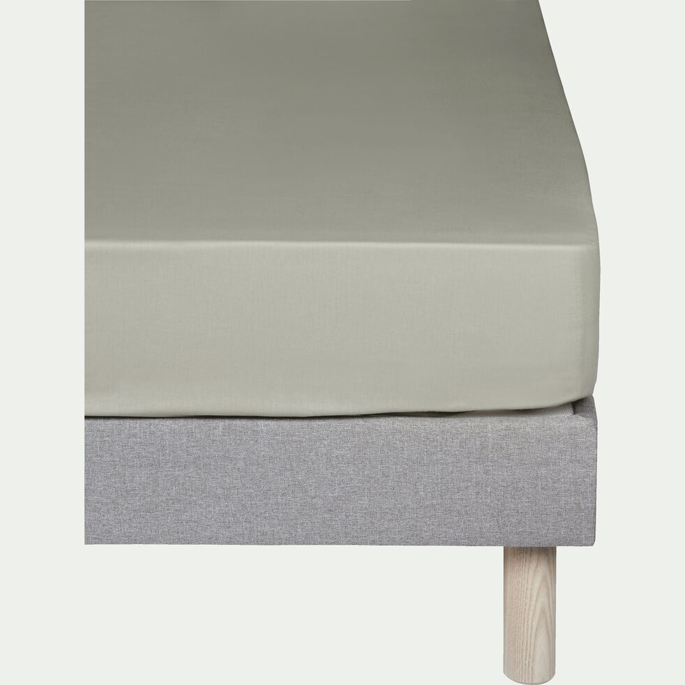 Drap housse en coton - vert olivier 90x200cm B25cm-CALANQUES
