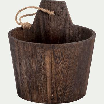 Sceau en bois de balsa - marron foncé D13xH16cm-RETZ