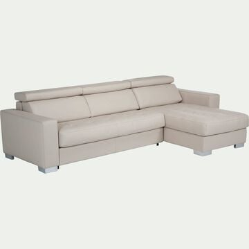 Canapé d'angle réversible en cuir de buffle beige-Mauro