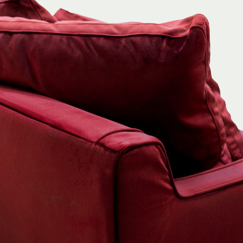 Canapé 4 places fixe en velours rouge sumac-LENITA