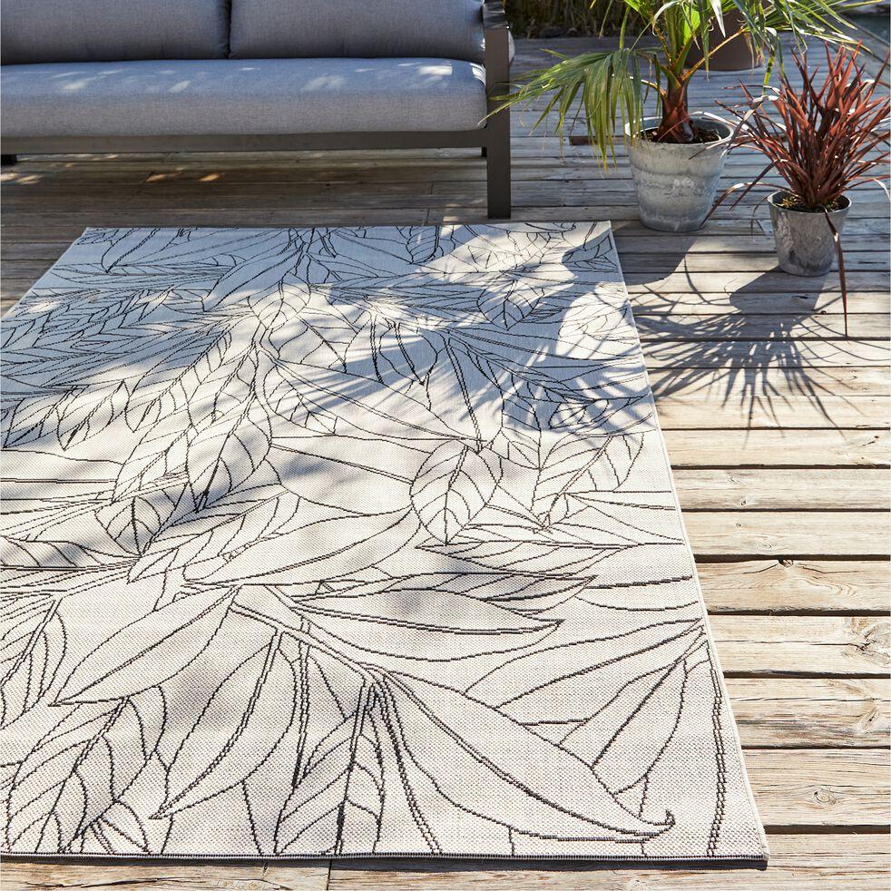 Tapis imprimé motif Laurier - blanc écru 120x170cm-LAURIER