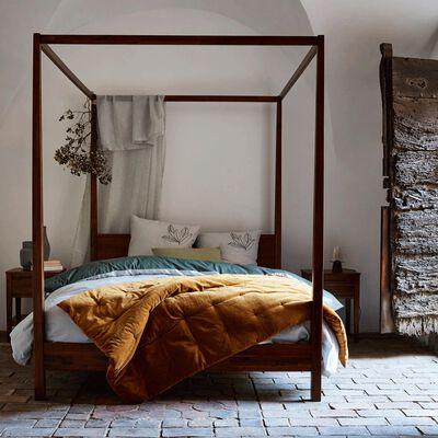 Lit 2 places avec baldaquins en acacia massif - 160x200 cm-THAO