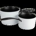 Casserole anti-adhésif blanche D16cm (tous feux dont induction)-ESCAL