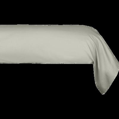 Taie de traversin en percale de coton vert olivier 43x190 cm-FLORE