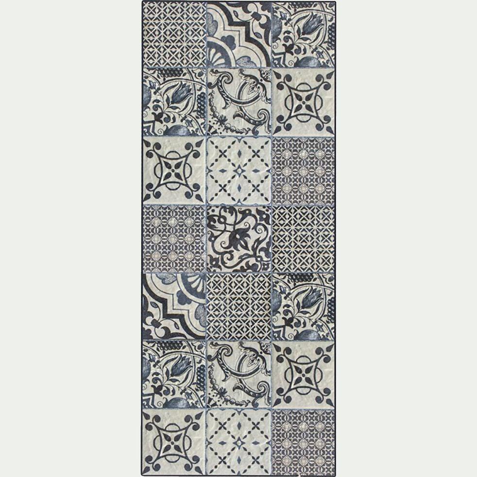 Tapis de couloir en vinyle - gris 60x200cm-SONIA