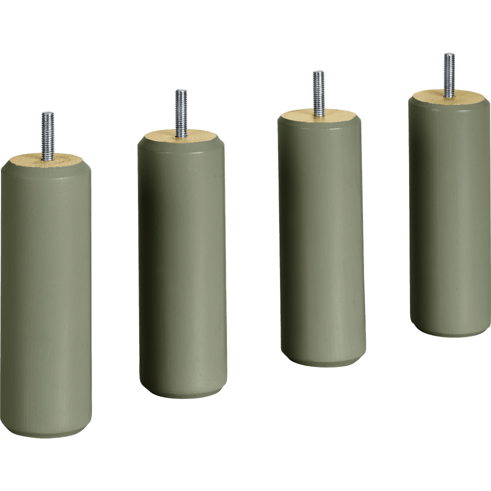 Pieds de sommier cylindriques en hêtre massif Vert cèdre - lot de 4-CYLINDRE