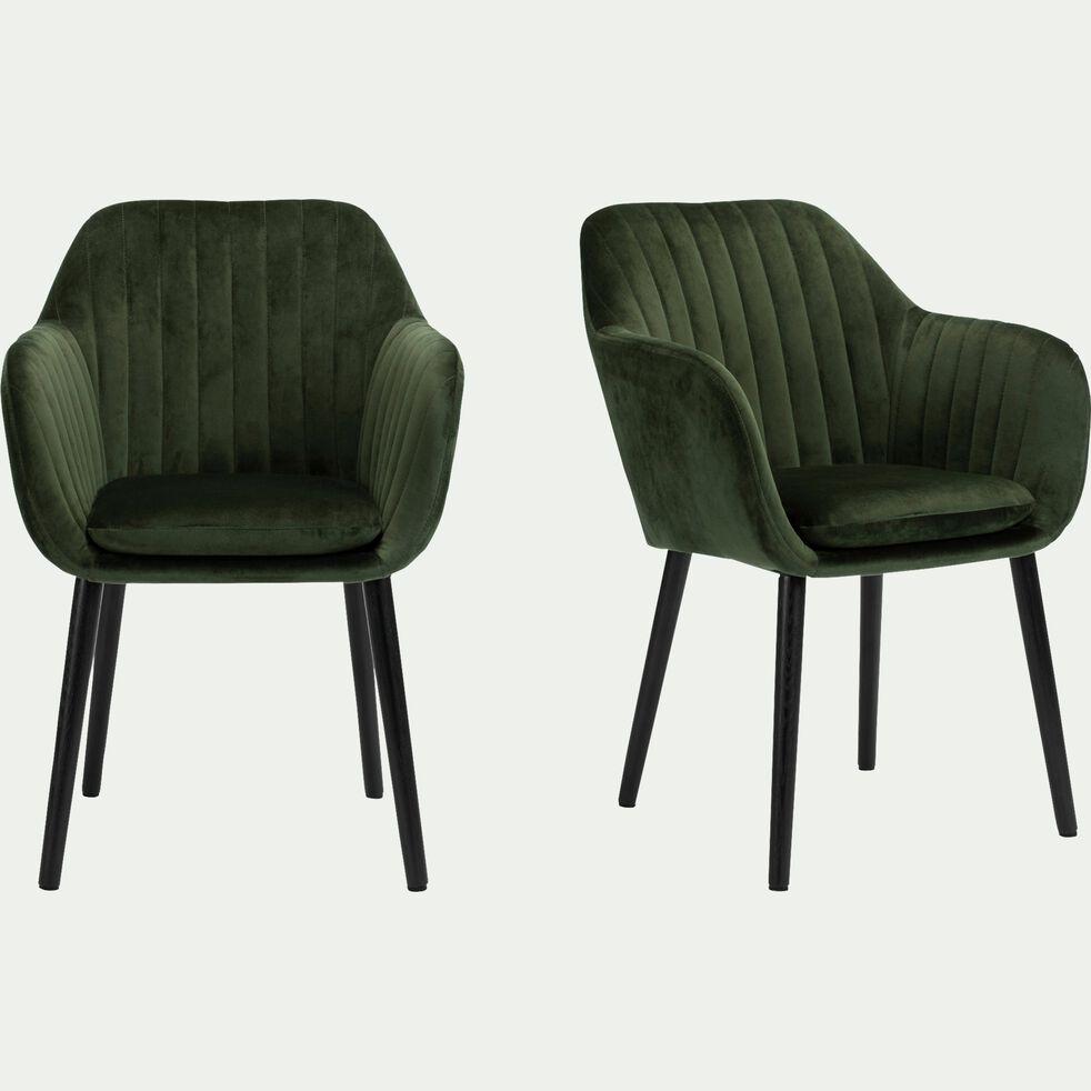 Chaise capitonnée en velours avec accoudoirs - vert cèdre-SHELL
