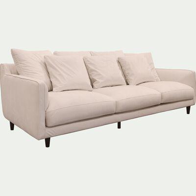 Canapé fixe 5 places en velours beige roucas-LENITA