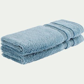 Lot de 2 serviettes invité bouclette en coton - bleu autan 30x50cm-Noun