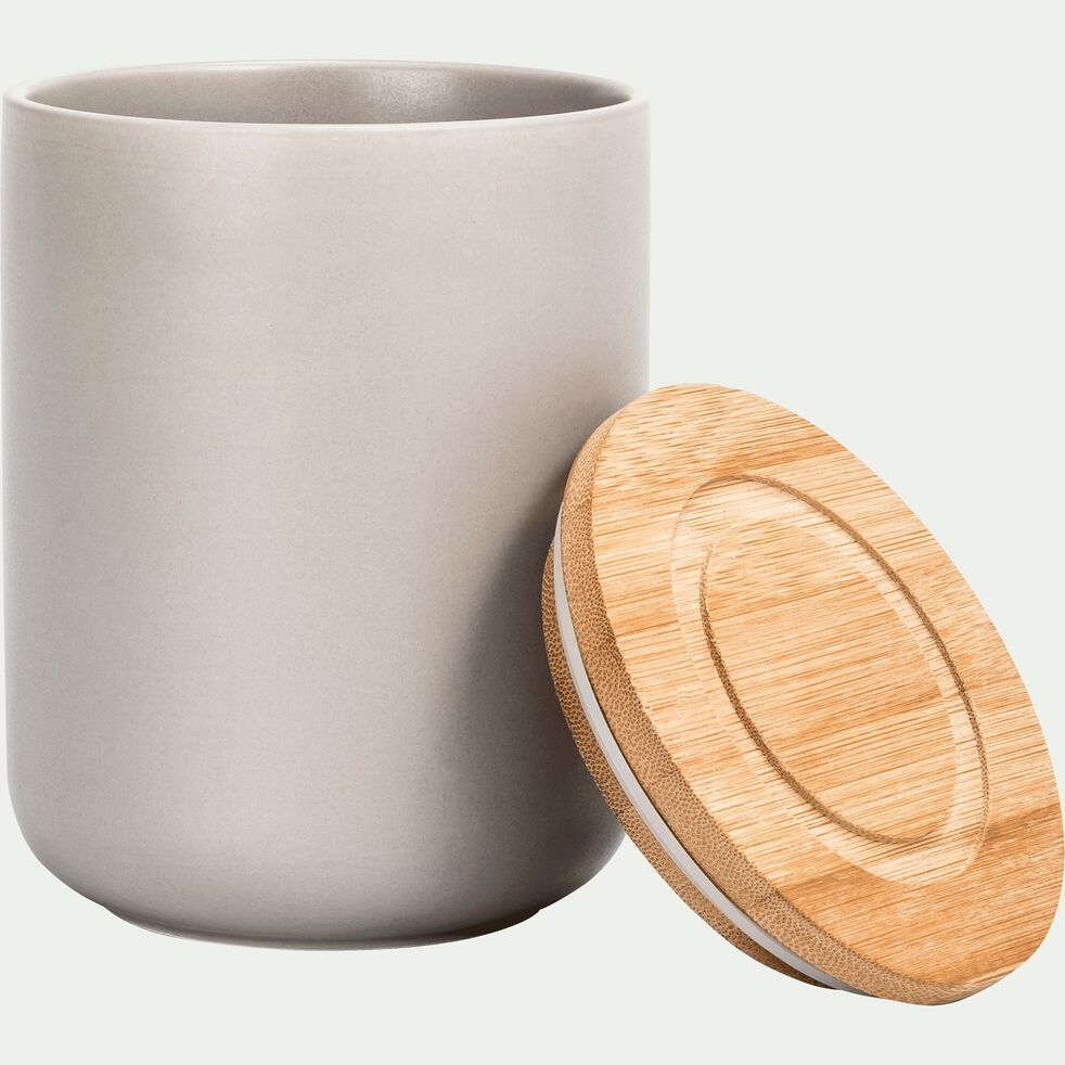 Pot en porcelaine gris avec couvercle en bambou D10,5xH13.5 cm-JAN