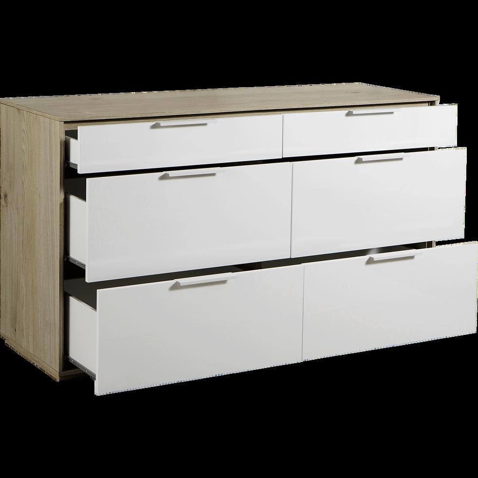 commode 6 tiroirs finition ch ne clair et fa ade blanche milano commodes alinea. Black Bedroom Furniture Sets. Home Design Ideas