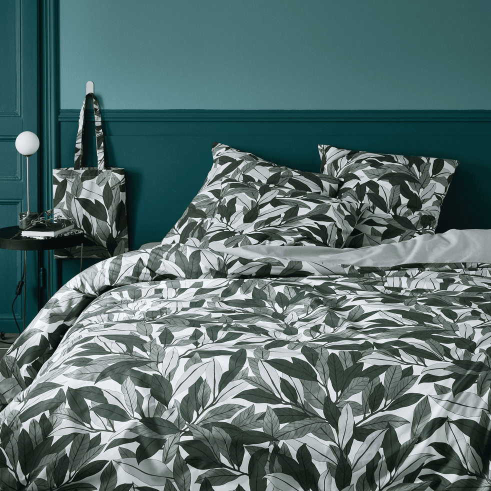Housse de couette en coton 260x240cm motif laurier - vert-SARA