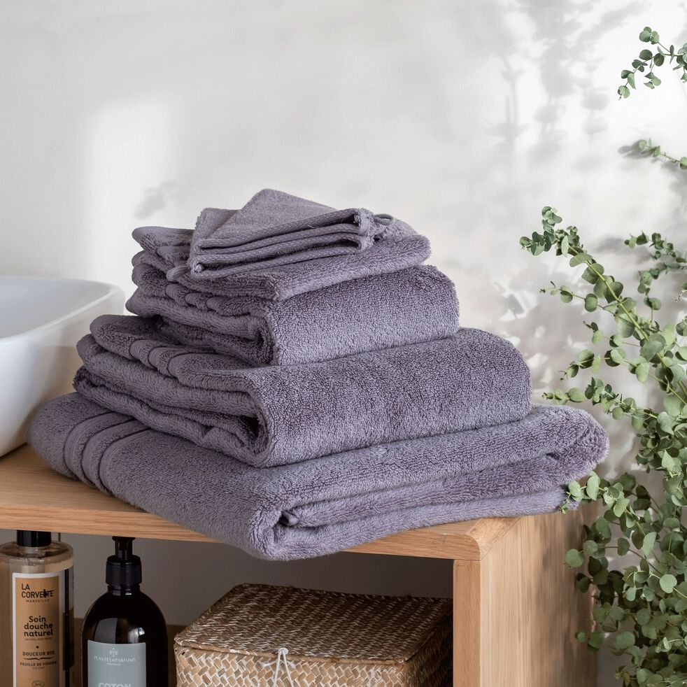 Lot de 2 gants de toilette bouclette en coton - gris anthracite-Noun