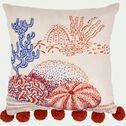 Coussin récif brodé avec pompons 40x40cm - multicolore-Récif