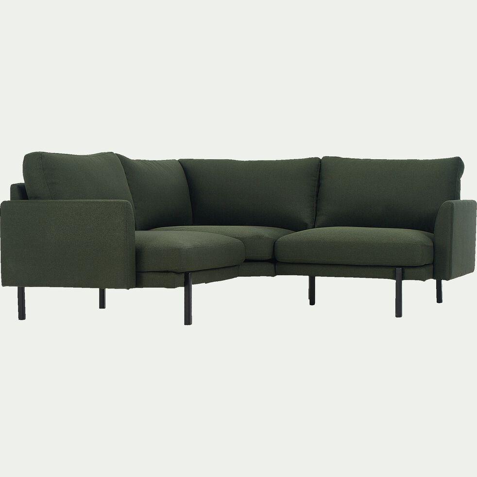 Canapé d'angle fixe 3 places en tissu - vert cèdre-CARLES
