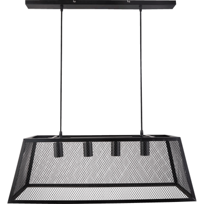 Suspension à 4 lumières en métal noir ajouré L78cm-AMANDA