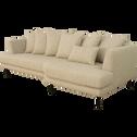 Canapé 5 places fixe droit en tissu beige roucas-TESSOUN