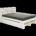 Tiroir de lit à roulettes blanc en pin massif-NARA