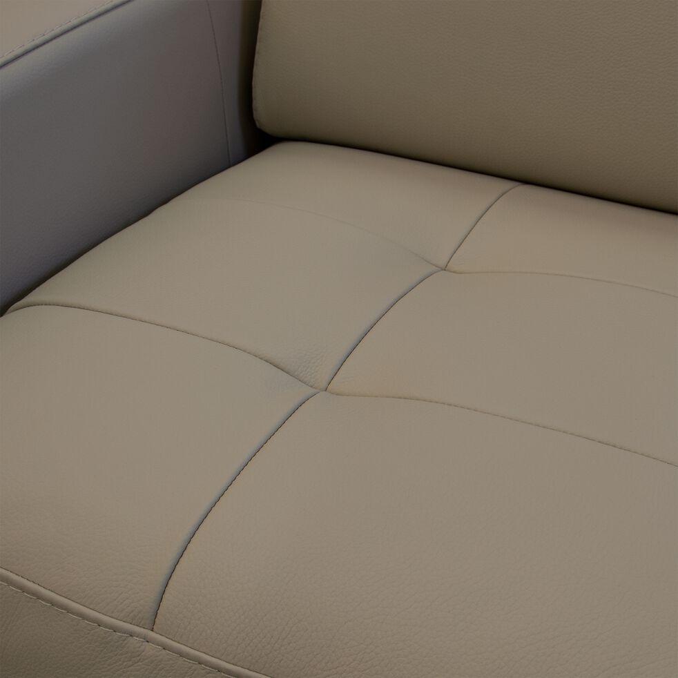 Canapé 2 places fixe en cuir avec accoudoir 15cm - beige-MAURO