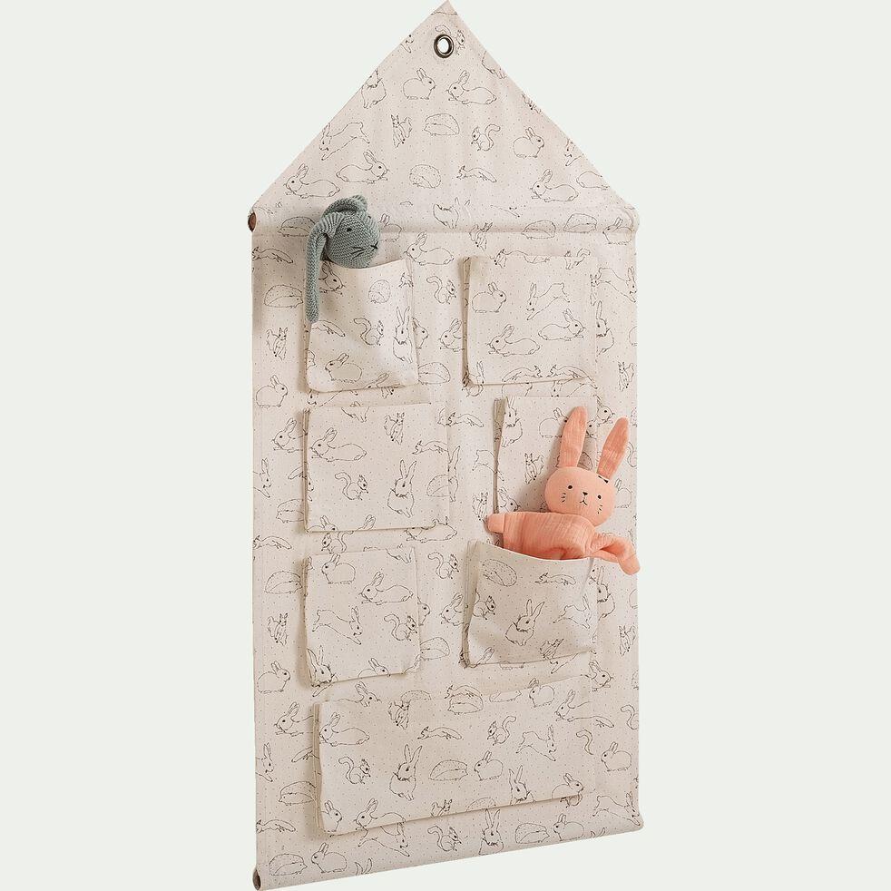 Rangement mural en coton - 50x94cm motifs blanc écru-Bestiaire