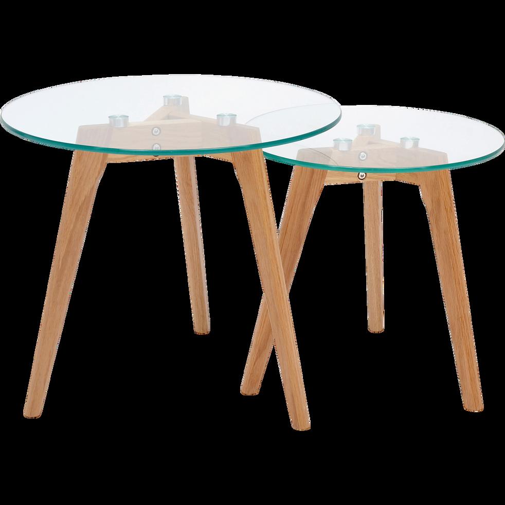 économiser e3380 f5583 NORDIK - Ensemble de 2 tables basses gigognes en verre et chêne