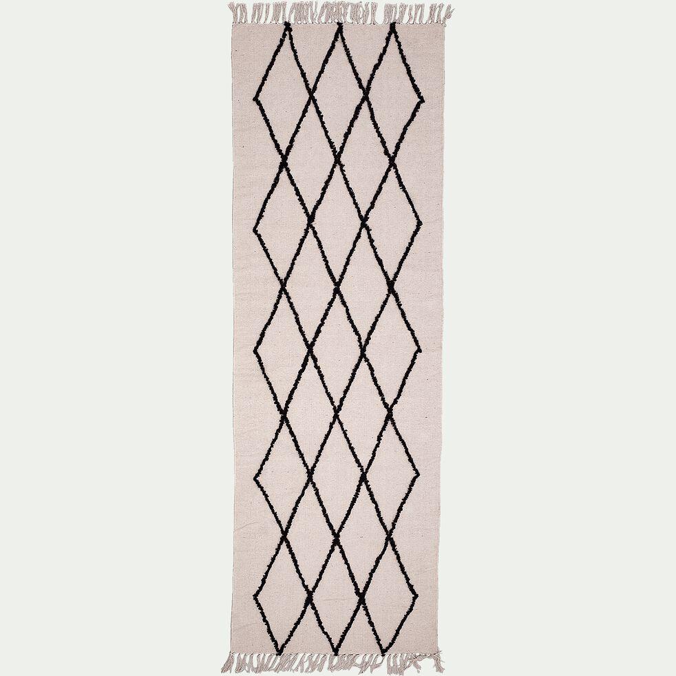 Tapis kilim à motifs - écru et noir 70x220cm-FADILA