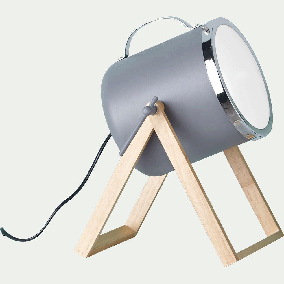 Lampe à poser forme projecteur en bois et métal gris H38,5cm-SUMMER
