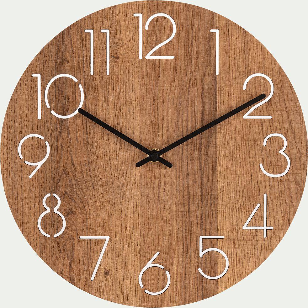 Horloge en bois - D29,5xH4cm naturel-ABIAS
