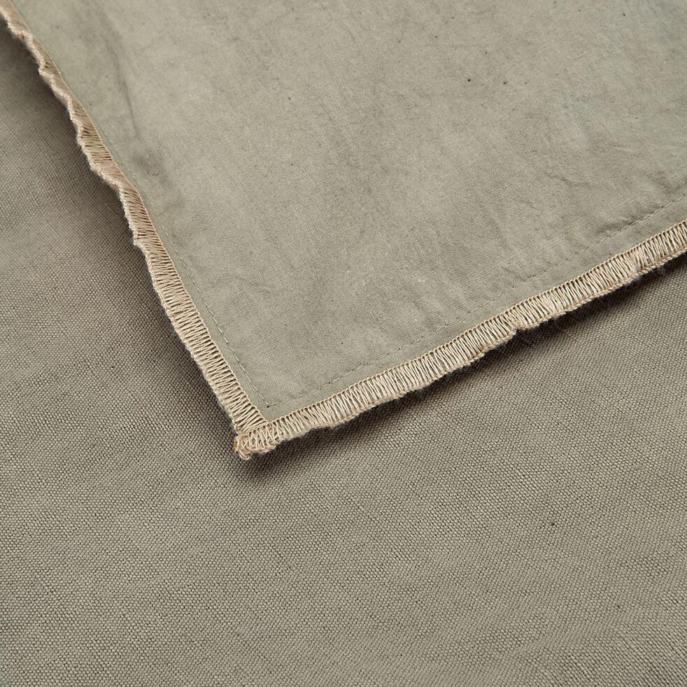 Édredon en coton et lin piquage pompons - vert olivier 100x180cm-ELINA