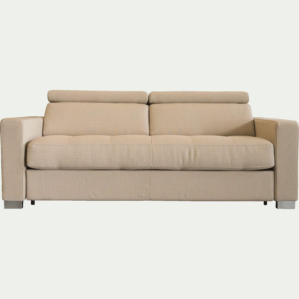 Canapé 3 places fixe en tissu accoudoirs 15cm - beige-MAURO