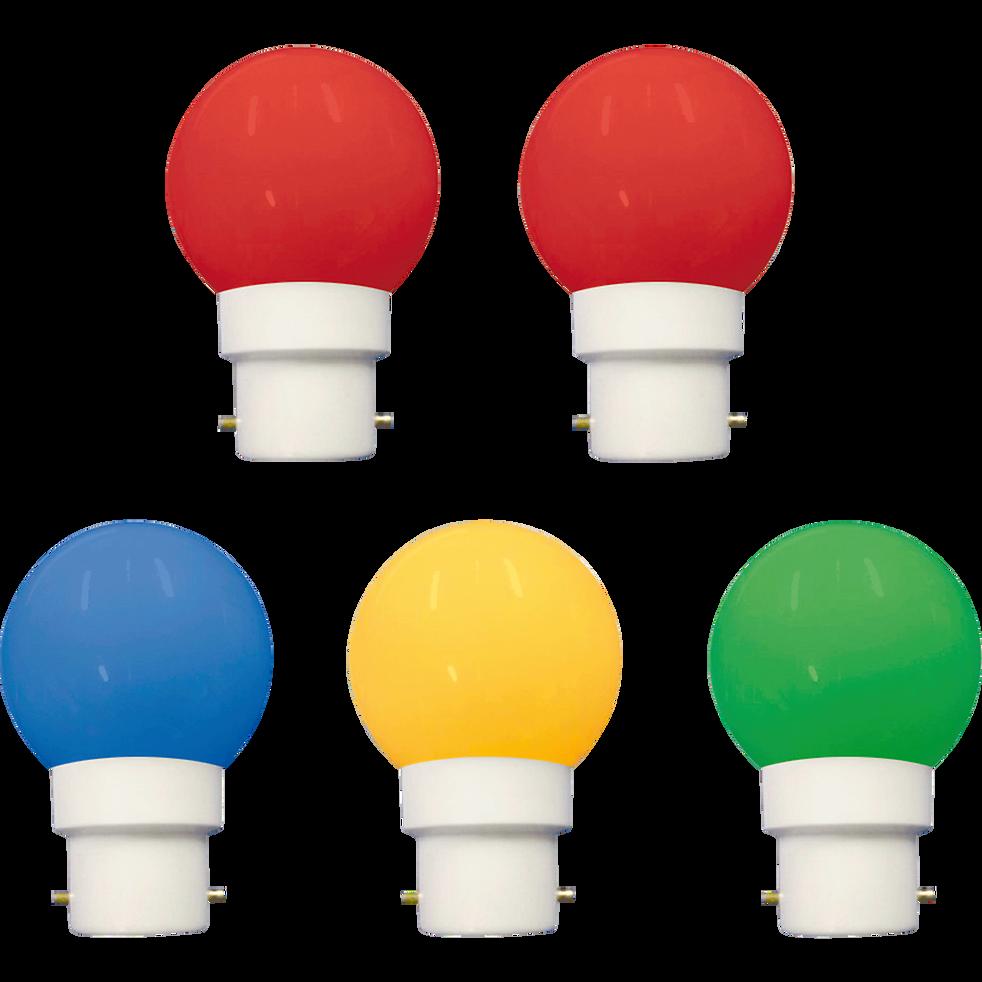 5 ampoules LED multicolores culot B22-B22guinguet
