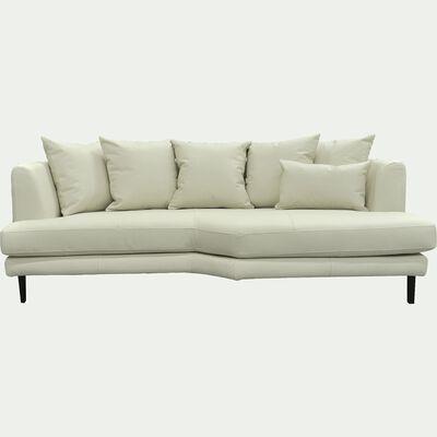 Canapé 3 places fixe droit en cuir beige roucas-TESSOUN