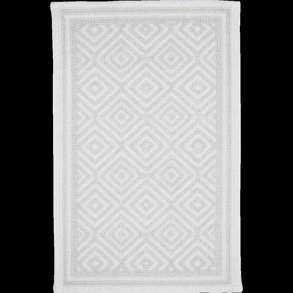 Tapis de bain en coton 50x70cm piquage en losanges gris borie-SADOU