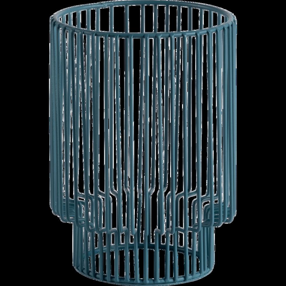 Photophore en métal bleu H12cm-Striba