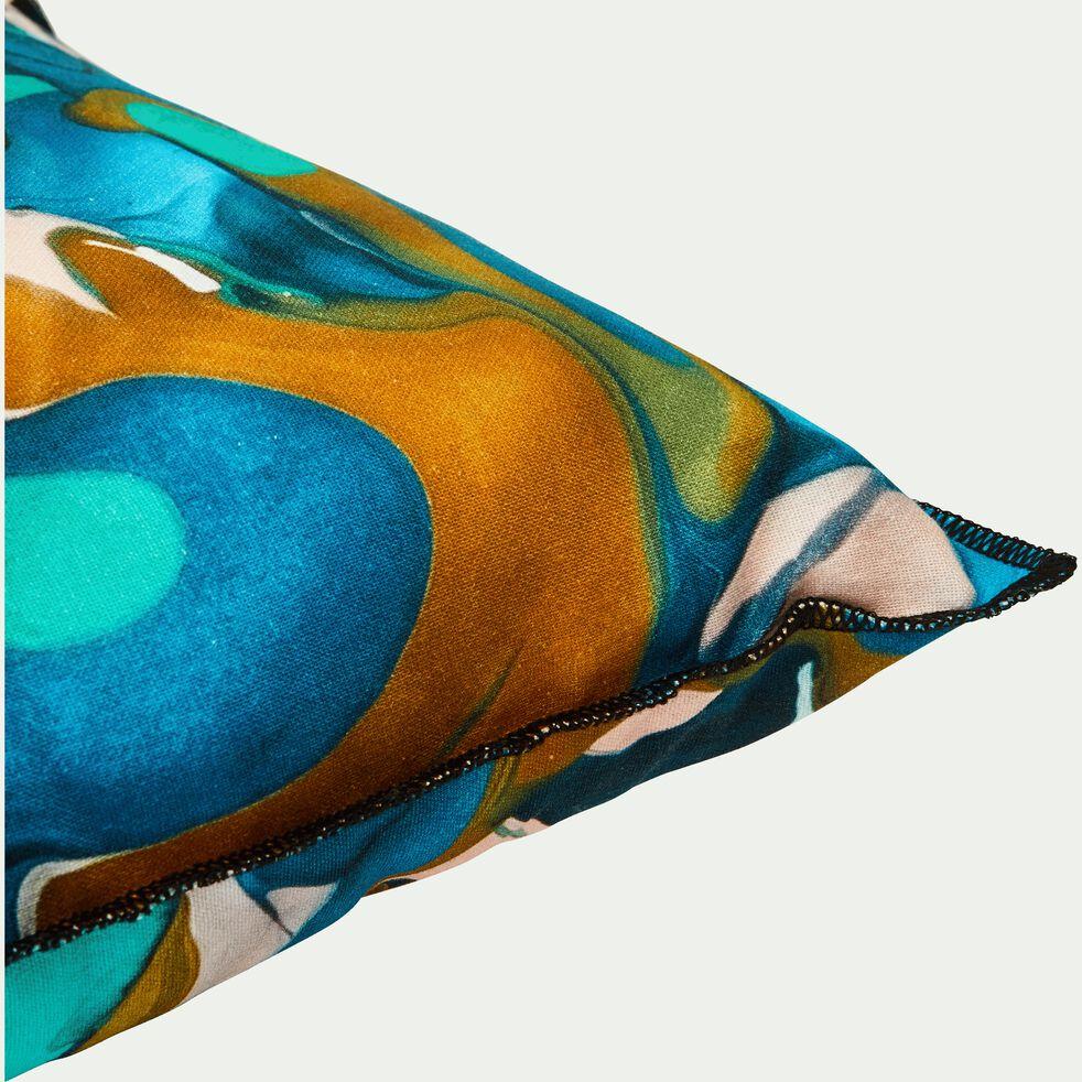 Coussin en coton motifs bleu 40x40 cm-TREVI
