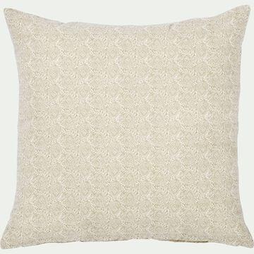 Coussin motif Amande en coton - beige roucas 45x45cm-AMANDE
