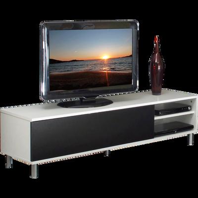Meuble TV blanc et noir avec porte battante noir-ABATO