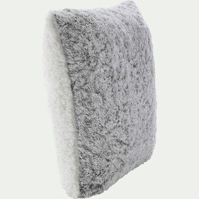 Housse de coussin imitation fourrure en polyester - gris 65x65cm-Lalou